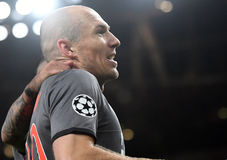 Arjen Robben. Celebrates after a goal scored during UEFA Champions League Group Last 16 Round game between Arsenal FC and Bayern Munich on March 7, 2017 at Royalty Free Stock Image