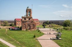 People in fortress of Oreshek, Russia Stock Photo