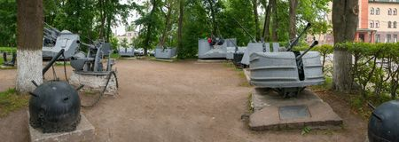 The Museum of naval guns. SHLISSELBURG, SAINT PETERSBURG, RUSSIA - AUGUST 21, 2017: the Museum of naval guns, the Echoes of great battles. Panorama Stock Photos