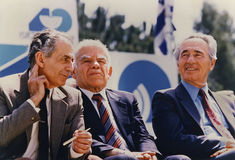 Shlomo Hillel, Yitzhak Shamir, and Shimon Peres stock photo