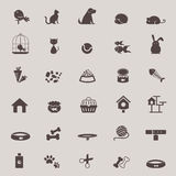 现出轮廓为sho设置的逗人喜爱的动物和宠物店工具象设计 免版税库存照片