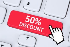 50% sho för försäljning för kupong för kupong för femtio procent rabattknapp online- Royaltyfri Foto