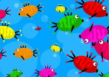 Shoal of fish. Shoal of cartoon fish forming a cute wallpaper background design Stock Photos
