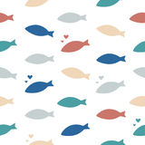Shoal of fishes. Multicolored seamless vector pattern. Stock Photos