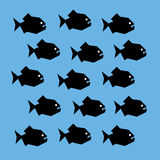Shoal of piranha. Vector stylized graphic illustration of a shoal of piranha fish. Black silhouettes of scary creatures with big teeth and white eyes. Square Stock Image