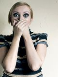 Shock. The woman with huge eyes for fear Stock Photography