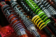 Shock absorbers close up. New shock absorbers close up view royalty free stock images