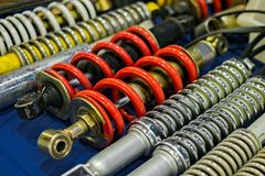 Shock absorbers closeup. Old motorcycle shock absorbers closeup royalty free stock photos