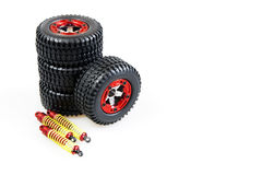 Shock-absorbers and wheels. Of rc car on a white background stock photography