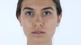 Shock, Amazed, Close up of Surprised Girl, White Background in Studio Stock Image