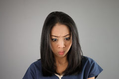 Shock Asian woman. royalty free stock images