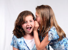 Shock and Awe. 2 young girls telling secrets Royalty Free Stock Photo