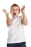 Shock and Awe. Young boy showing an expression of shock and awe, looking at something unpleasant or frightening Royalty Free Stock Photo