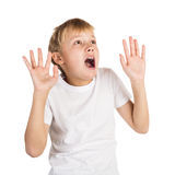 Shock and Awe. Young boy showing an expression of shock and awe, looking at something unpleasant or frightening Royalty Free Stock Photography