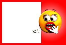 Shock With Blank Space. An image of a very shocked female cartoon face, pointing at a customisable white space which you can put your own text in stock illustration