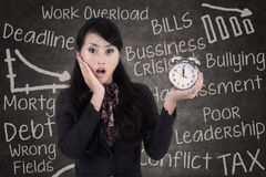 Shock businesswoman with alarm clock Royalty Free Stock Photos