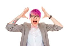 Shocked woman hands in air yelling stock photos