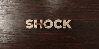 Shock - grungy wooden headline on Maple - 3D rendered royalty free stock image. This image can be used for an online website banner ad or a print postcard vector illustration