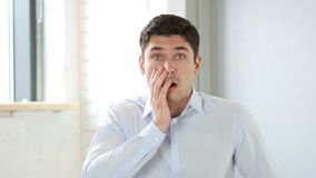 Shock for Man in Office, big Loss, Indoor Stock Photography
