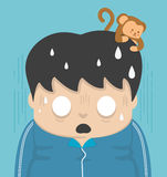 Shock and a monkey on the head. Royalty Free Stock Images
