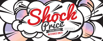 Shock Price Sale 6250x2500 pixel Banner. Royalty Free Stock Photography