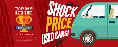 Shock Price Used Cars Sale 6250x2500 pixel Banner. Royalty Free Stock Image