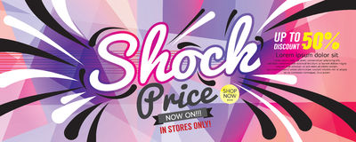 Shock Price 6250x2500 pixel Banner. Stock Photo