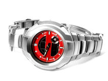 Shock proof watch isolated on white. Red dial watch over white background Stock Photo