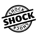 Shock rubber stamp. Grunge design with dust scratches. Effects can be easily removed for a clean, crisp look. Color is easily changed Stock Images