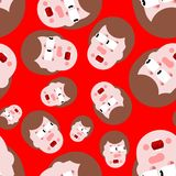 Shock seamless pattern. Panic people background. mental jolt and. Fear ornament stock illustration