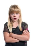 Shock and surprise. Young blond girl with shocked or suprised expression Royalty Free Stock Photography