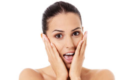 Shock and surprised beautiful young woman. Stock Image