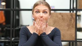 Shock, Upset Girl Reacting on Loss, Portrait Royalty Free Stock Image