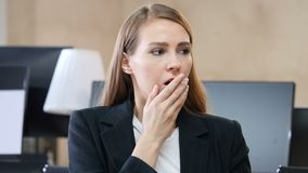Shock, Upset Woman in Office. Designer , young man , handsome stock footage