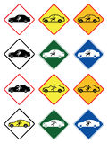 Shock Warning in luxury electric car shape, Vector of traffic signs. Royalty Free Stock Photos