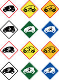 Shock Warning in small electric car shap, Vector of traffic signs. A collection of Vector of traffic signs. Shock Warning in small electric car shape Stock Image