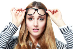 Shock woman in glasses Stock Image