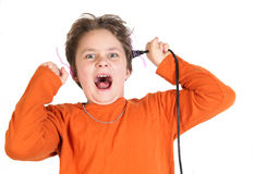 Shocked. A funny boy pretending to be shocked with electricity stock image
