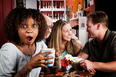 Shocked African American Woman with Friends Royalty Free Stock Images