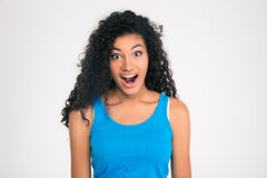 Shocked afro american woman looking at camera Royalty Free Stock Photography