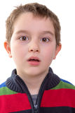 Shocked. And amazed look from a eight years old kid Royalty Free Stock Photos