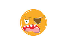 Shocked and angry Emoticon with pirate eye  on white for Mobile and Web. Stock Photography