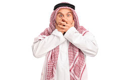 Shocked Arab covering his mouth Stock Photography