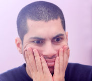 Shocked arab young egyptian businessman Stock Photos