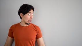 Shocked Asian man. stock image
