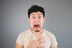 Shocked Asian man. Royalty Free Stock Images