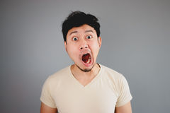 Shocked Asian man. Stock Photos