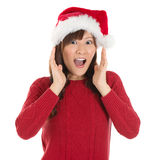 Shocked Asian Santa woman Stock Images