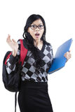 Shocked asian student isolated Royalty Free Stock Images