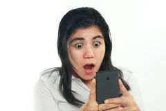 Shocked Asian Woman With Her Smart Phone Stock Photo